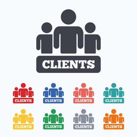 clients: Clients sign icon. Group of people symbol. Colored flat icons on white background. Illustration