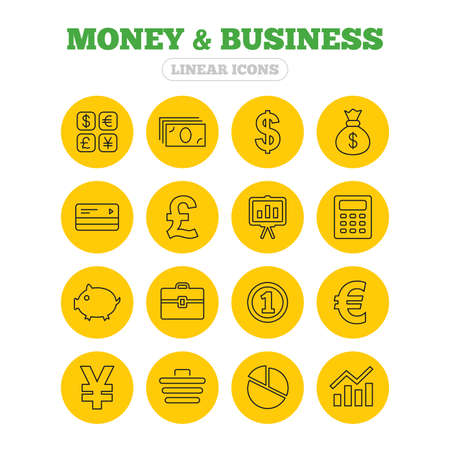 cashless: Money and business icons. Cash and cashless money. Usd, eur, gbp and jpy currency exchange. Presentation, calculator and shopping cart symbols. Linear icons on yellow buttons.