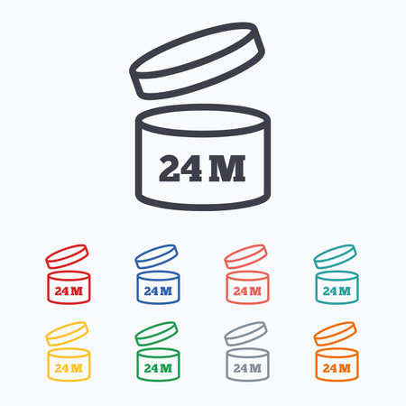 expiration: After opening use 24 months sign icon. Expiration date. Colored flat icons on white background.