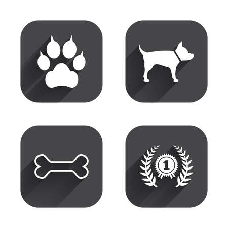 clutches: Pets icons. Cat paw with clutches sign. Winner laurel wreath and medal symbol. Pets food. Square flat buttons with long shadow.