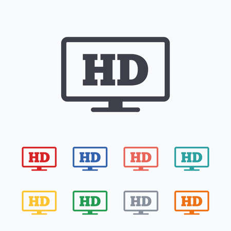 full screen: HD widescreen tv sign icon. High-definition symbol. Colored flat icons on white background.