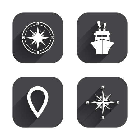 windrose: Windrose navigation compass icons. Shipping delivery sign. Location map pointer symbol. Square flat buttons with long shadow.