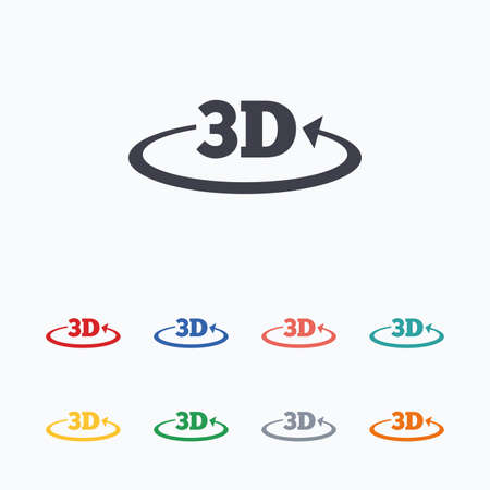 3D sign icon. 3D New technology symbol. Rotation arrow. Colored flat icons on white background. Vector Illustration