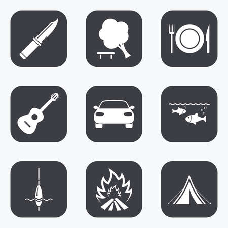 hike: Hike trip, camping icons. Fishing, campfire and tourist tent signs. Guitar music, knife and food symbols. Flat square buttons with rounded corners.