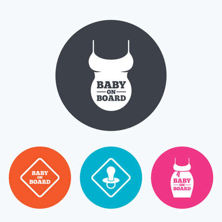 pregnant belly: Baby on board icons. Infant caution signs. Child pacifier nipple. Pregnant woman dress with big belly. Circle flat buttons with icon.