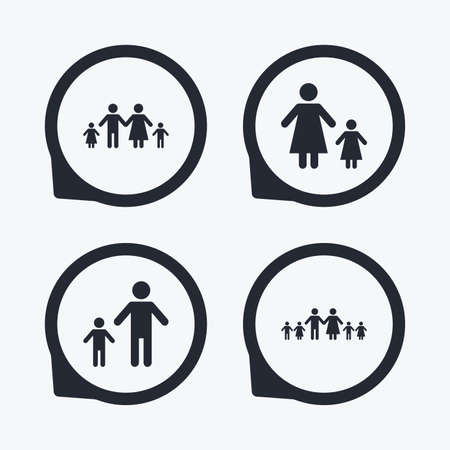 one parent: Large family with children icon. Parents and kids symbols. One-parent family signs. Mother and father divorce. Flat icon pointers. Illustration