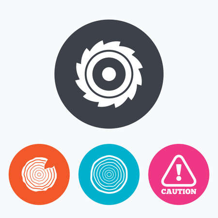 woodworking: Wood and saw circular wheel icons. Attention caution symbol. Sawmill or woodworking factory signs. Circle flat buttons with icon. Illustration