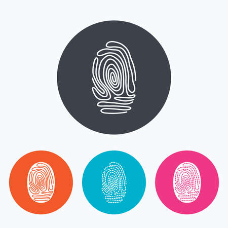dabs: Fingerprint icons. Identification or authentication symbols. Biometric human dabs signs. Circle flat buttons with icon.