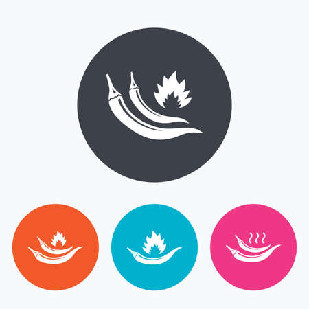 spicy: Hot chili pepper icons. Spicy food fire sign symbols. Circle flat buttons with icon.
