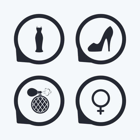 sex positions: Wedding dress icon. Women shoe sign. Perfume glamour fragrance symbol. Flat icon pointers.