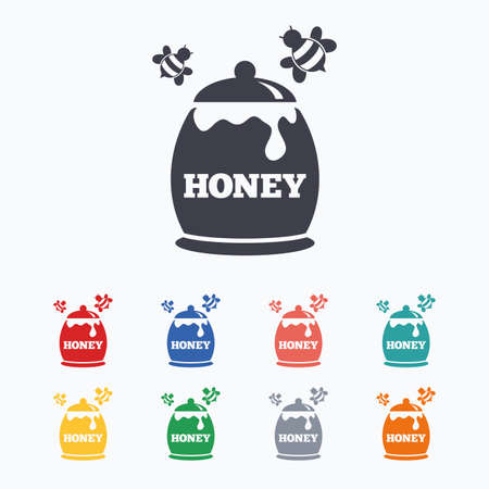 pollination: Honey in pot with flying bees sign icon. Sweet natural food symbol. Colored flat icons on white background. Illustration