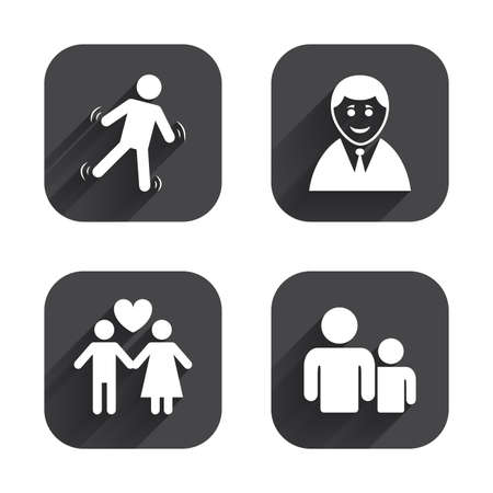 shadow people: Businessman person icon. Group of people symbol. Man love Woman or Lovers sign. Caution slippery. Square flat buttons with long shadow.