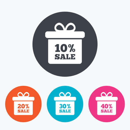 discount tag: Sale gift box tag icons. Discount special offer symbols. 10%, 20%, 30% and 40% percent sale signs. Circle flat buttons with icon. Illustration