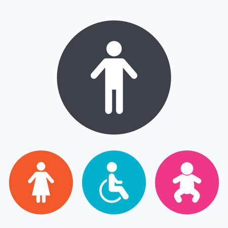 gents: WC toilet icons. Human male or female signs. Baby infant or toddler. Disabled handicapped invalid symbol. Circle flat buttons with icon. Illustration