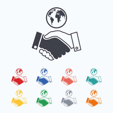 business agreement: World handshake sign icon. Amicable agreement. Successful business with globe symbol. Colored flat icons on white background.