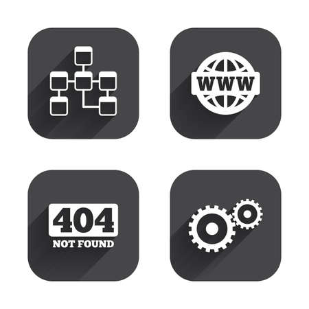 page long: Website database icon. Internet globe and gear signs. 404 page not found symbol. Under construction. Square flat buttons with long shadow.
