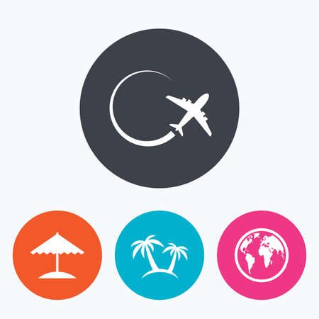 airplane world: Travel trip icon. Airplane, world globe symbols. Palm tree and Beach umbrella signs. Circle flat buttons with icon. Illustration