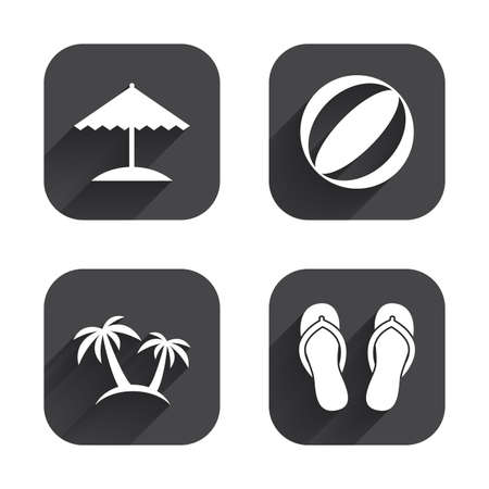 sandals: Beach holidays icons. Ball, umbrella and flip-flops sandals signs. Palm trees symbol. Square flat buttons with long shadow.