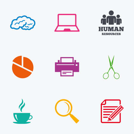 office computer: Office, documents and business icons. Human resources, notebook and printer signs. Scissors, magnifier and coffee symbols. Flat colored graphic icons. Illustration