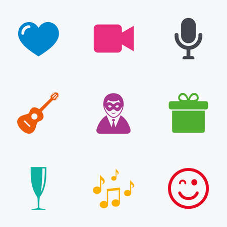 champagne orange: Party celebration, birthday icons. Carnival, guitar and champagne glass signs. Gift box, music and video camera symbols. Flat colored graphic icons.