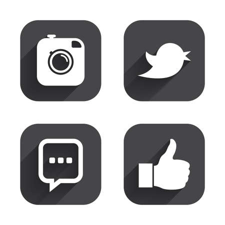 chat up: Hipster photo camera icon. Like and Chat speech bubble sign. Hand thumb up. Bird symbol. Square flat buttons with long shadow. Illustration