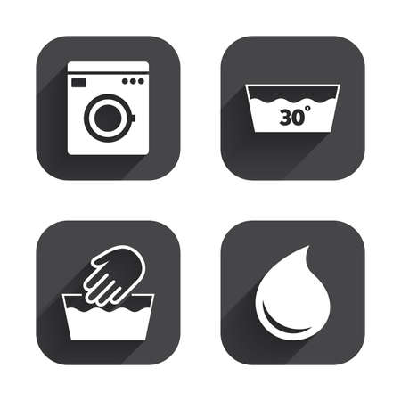 washhouse: Hand wash icon. Machine washable at 30 degrees symbols. Laundry washhouse and water drop signs. Square flat buttons with long shadow.