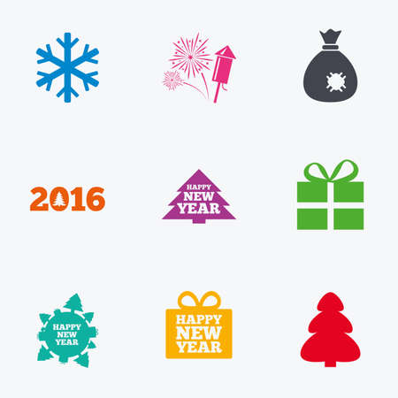 salut: Christmas, new year icons. Gift box, fireworks and snowflake signs. Santa bag, salut and rocket symbols. Flat colored graphic icons. Illustration