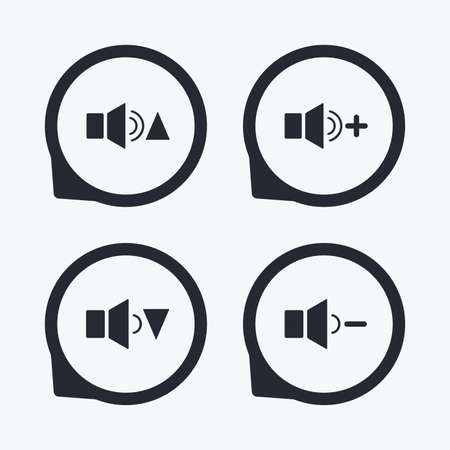 quieter: Player control icons. Sound louder and quieter signs. Dynamic symbol. Flat icon pointers.