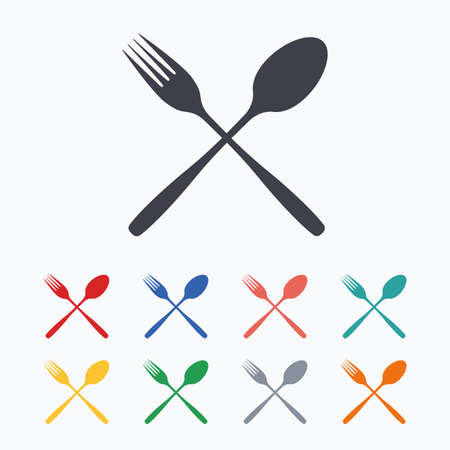 crosswise: Eat sign icon. Cutlery symbol. Fork and spoon crosswise. Colored flat icons on white background. Illustration