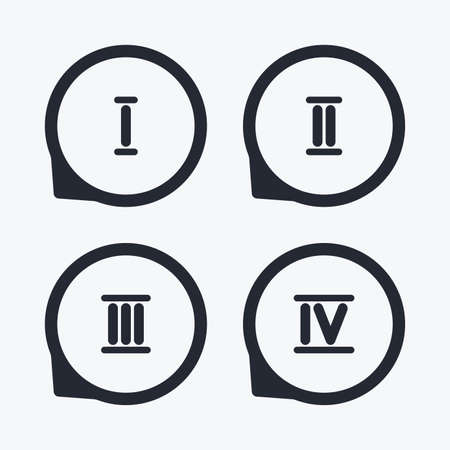ancient roman: Roman numeral icons. 1, 2, 3 and 4 digit characters. Ancient Rome numeric system. Flat icon pointers. Illustration