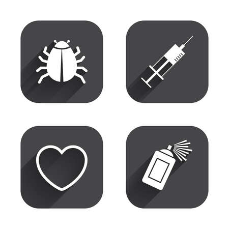 acarus: Bug and vaccine syringe injection icons. Heart and spray can sign symbols. Square flat buttons with long shadow.