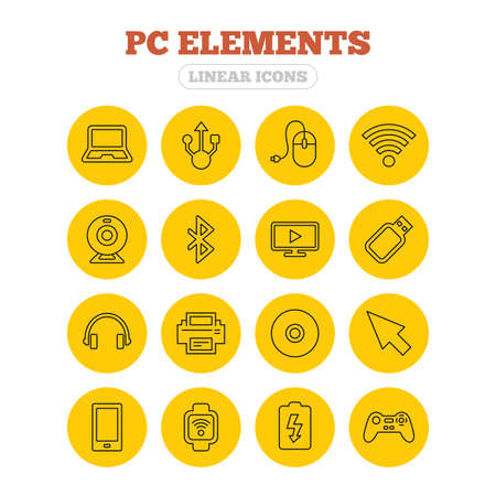 usb port: Computer elements icons. Notebook, usb port and smartphone. Printer, smart watch and game console joystick. Bluetooth, flash stick and cursor pointer. Linear icons on yellow buttons.