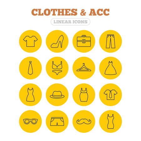 shorts t shirt sexy: Clothes and accessories icons. Shirt with tie, pants and woman dress symbols. Hat, hanger and glasses thin outline signs. Underwear and maternity clothes. Linear icons on yellow buttons. Illustration