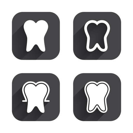 stomatologist: Tooth enamel protection icons. Dental care signs. Healthy teeth symbols. Square flat buttons with long shadow. Illustration