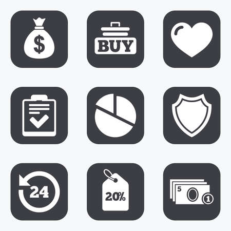 e cash: Online shopping, e-commerce and business icons. Checklist, like and pie chart signs. Money bag, discount and protection symbols. Flat square buttons with rounded corners.