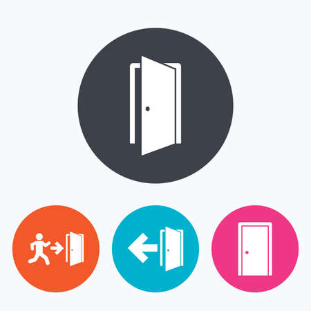 fire exit: Doors icons. Emergency exit with human figure and arrow symbols. Fire exit signs. Circle flat buttons with icon. Illustration