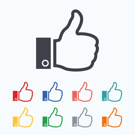 hand colored: Like sign icon. Thumb up sign. Hand finger up symbol. Colored flat icons on white background.