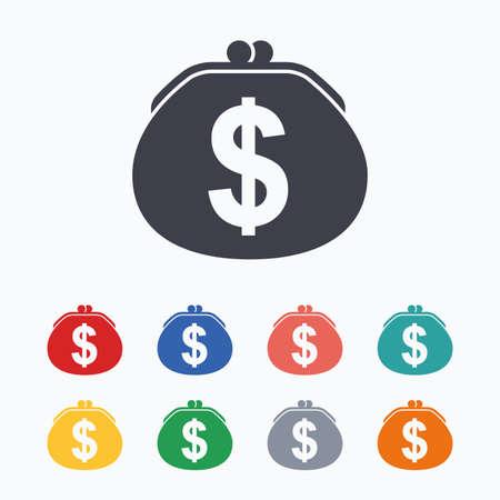 orange color: Wallet dollar sign icon. Cash bag symbol. Colored flat icons on white background. Illustration