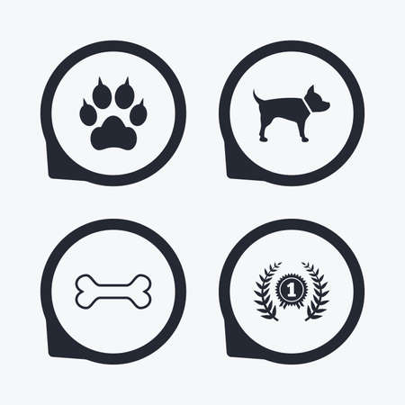 clutches: Pets icons. Cat paw with clutches sign. Winner laurel wreath and medal symbol. Pets food. Flat icon pointers. Illustration
