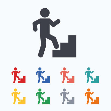 upstairs: Upstairs icon. Human walking on ladder sign. Colored flat icons on white background.