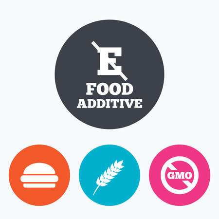 no food: Food additive icon. Hamburger fast food sign. Gluten free and No GMO symbols. Without E acid stabilizers. Circle flat buttons with icon.