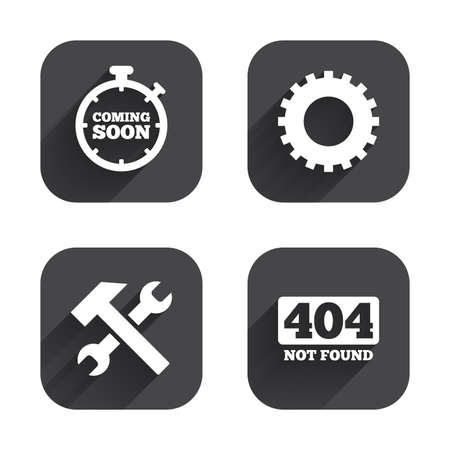 screw key: Coming soon icon. Repair service tool and gear symbols. Hammer with wrench signs. 404 Not found. Square flat buttons with long shadow.