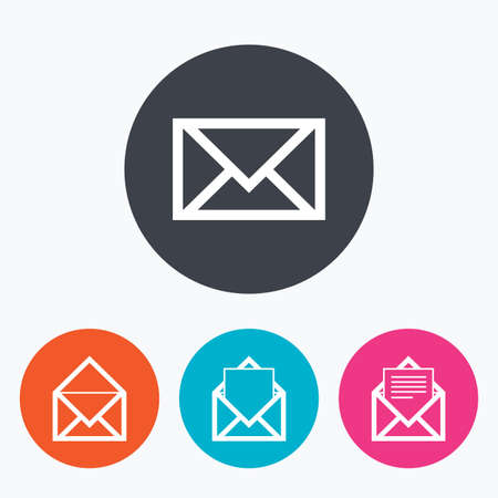 webmail: Mail envelope icons. Message document symbols. Post office letter signs. Circle flat buttons with icon.