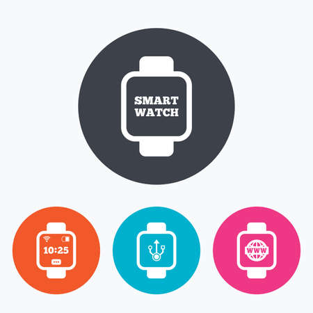 www arm: Smart watch icons. Wrist digital time watch symbols. Illustration