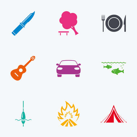 hike: Hike trip, camping icons. Fishing, campfire and tourist tent signs. Guitar music, knife and food symbols. Flat colored graphic icons. Illustration