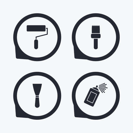 spray can: Paint roller, brush icons. Spray can and Spatula signs. Wall repair tool and painting symbol. Flat icon pointers. Illustration