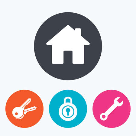 screw key: Home key icon. Wrench service tool symbol. Locker sign. Main page web navigation. Circle flat buttons with icon.