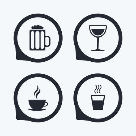 coffee icon: Drinks icons. Coffee cup and glass of beer symbols. Wine glass sign. Flat icon pointers.