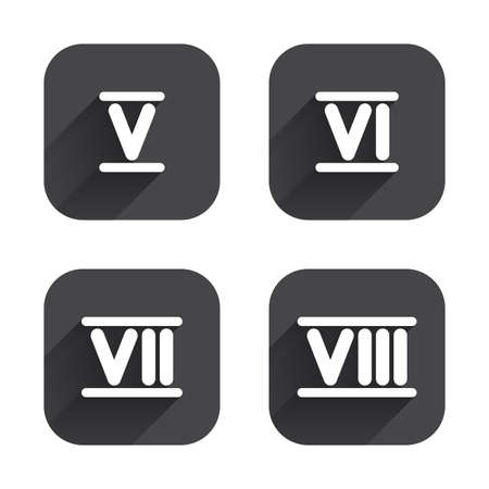 ancient rome: Roman numeral icons. 5, 6, 7 and 8 digit characters. Ancient Rome numeric system. Square flat buttons with long shadow. Illustration