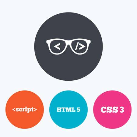 css3: Programmer coder glasses icon. HTML5 markup language and CSS3 cascading style sheets sign symbols. Circle flat buttons with icon. Illustration